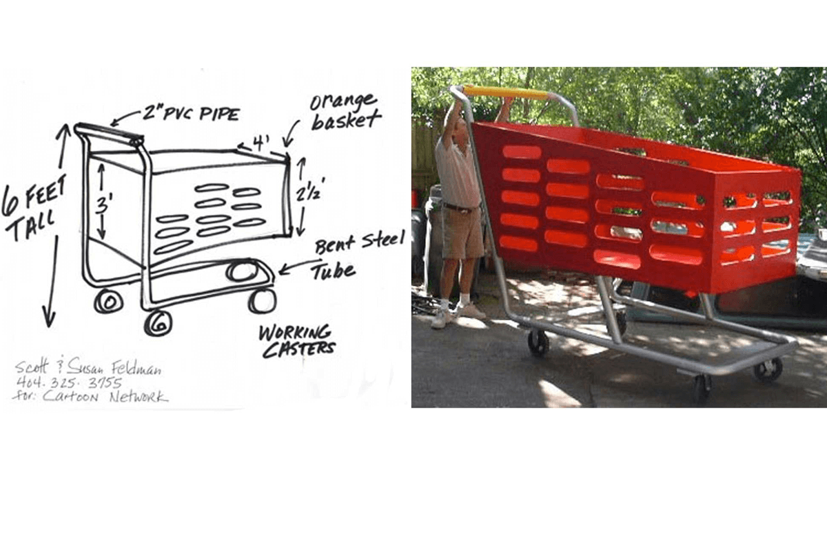 Atlanta Props™ Custom Oversized Props - Giant Working Grocery Cart for Cartoon Network