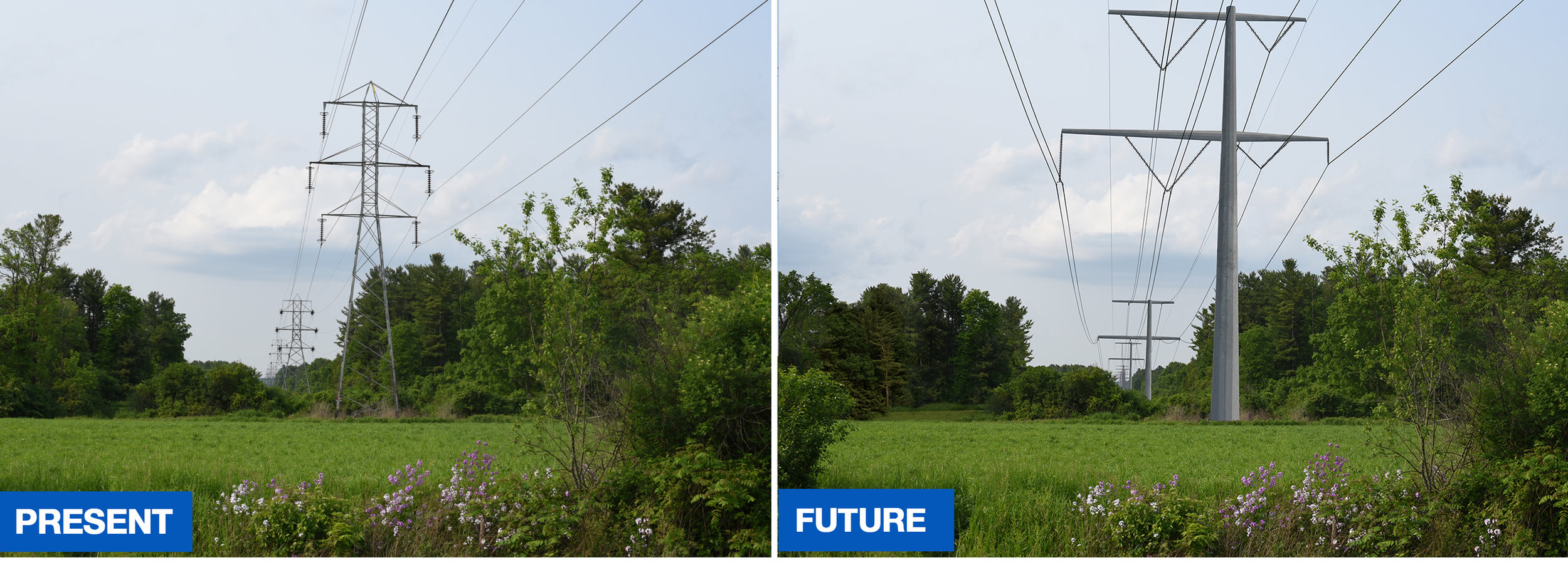These photos represent what will take place on 6.4 miles of the Claverack route. For illustrative purposes only.