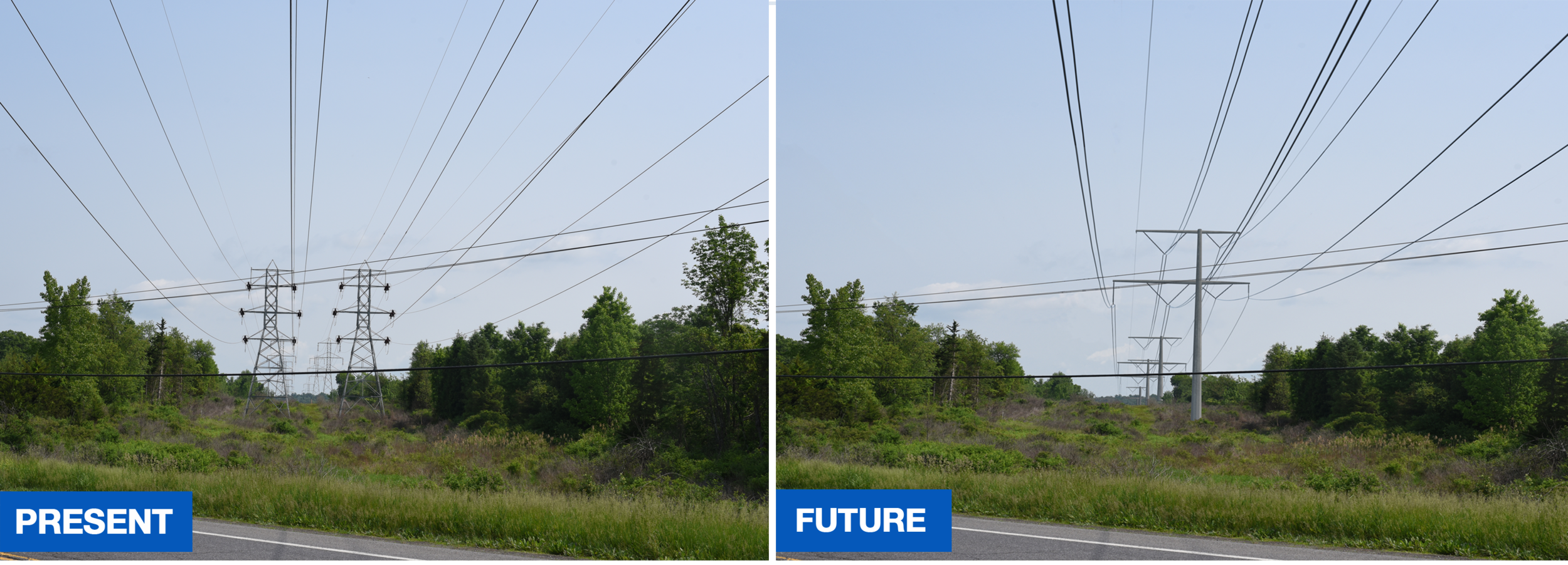 These photos represent what will take place on 0.9 miles of the Claverack route. For illustrative purposes only.
