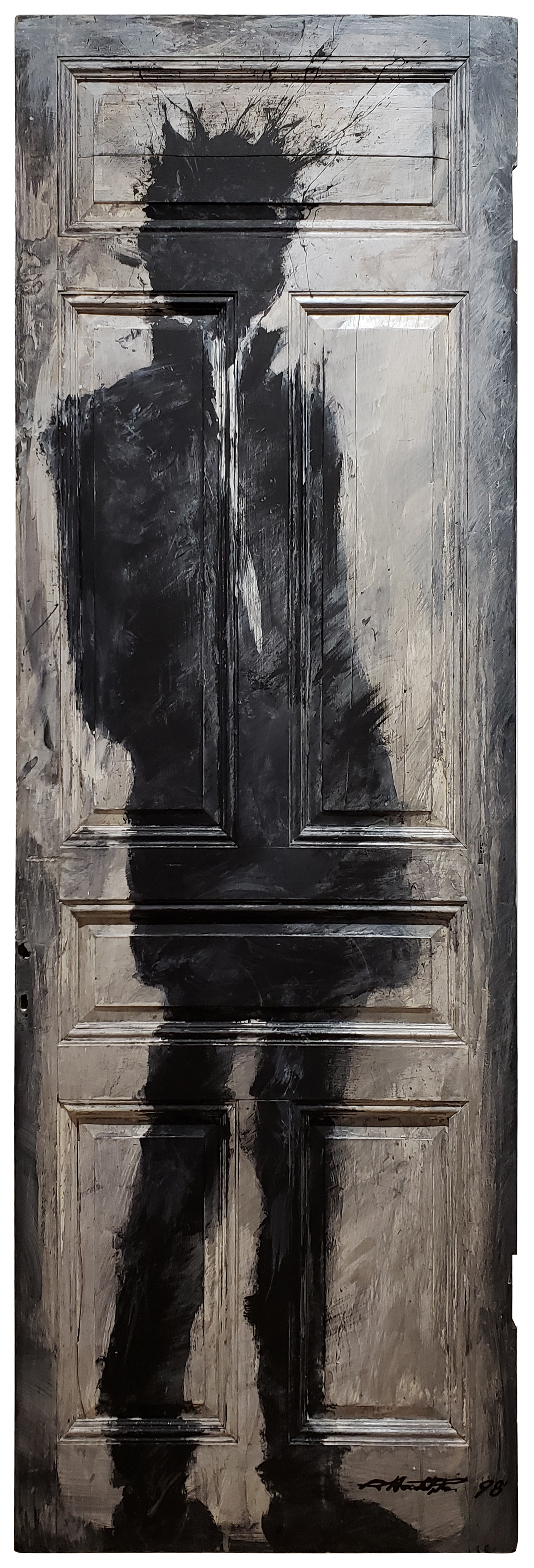 "RICHARD HAMBLETON  Standing Shadow on Door , 1998 Acrylic on wood door 85""x29""  Price upon request"