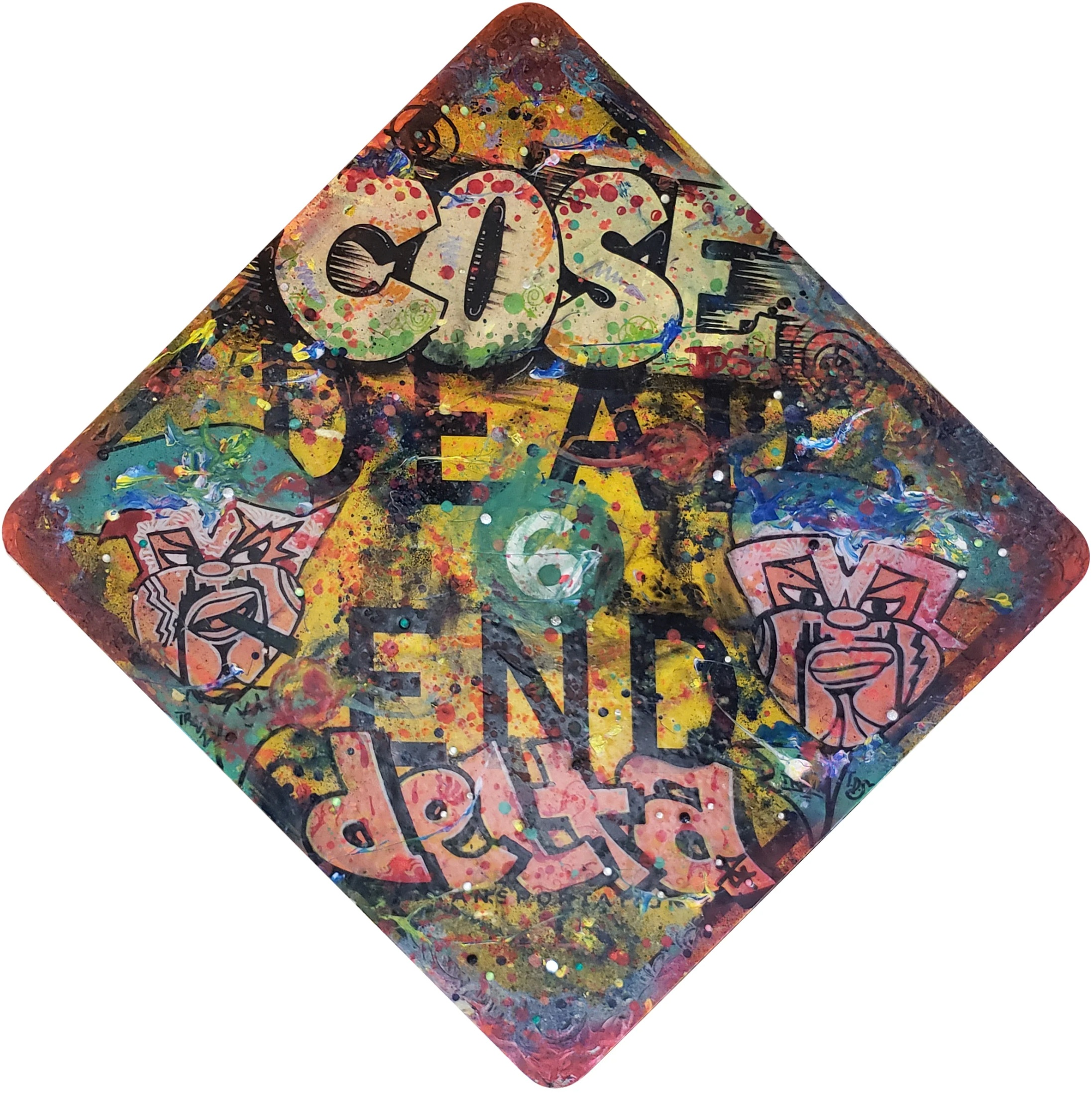 """DELTA 2 + COSE  Dead End , 2018 Spray paint on sign 30""""x30""""  Price upon request"""