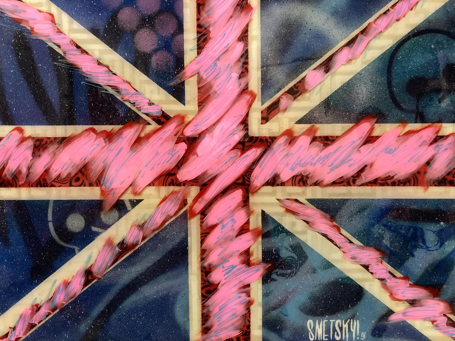 """SMETSKY  Union Jack,  2018 Acrylic, spray paint and resin on canvas 32"""" x 39""""  Price upon request"""