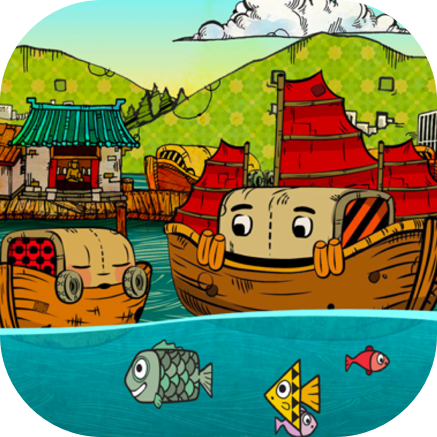 """Jackie Junko - iPad Storybook - 15 pages of interactive """"read along"""" storytelling. Jackie Junko and The Old Ship Yard is a story about a little boat on an adventure that goes just slightly wrong! The landscape in which Jackie lives in is rich and engaging with beautiful mountainous backdrops that sit neatly around the waterways that he lives in."""