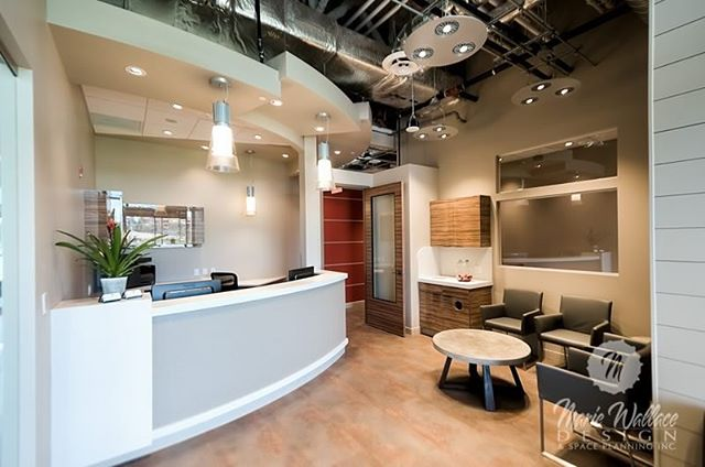 Contemporary reception with an industrial flavour. #interiordesigner #reception #dental #customdesign #designer #design #interiordesign #yyc #yycdesign #industrialdesign #contemporary