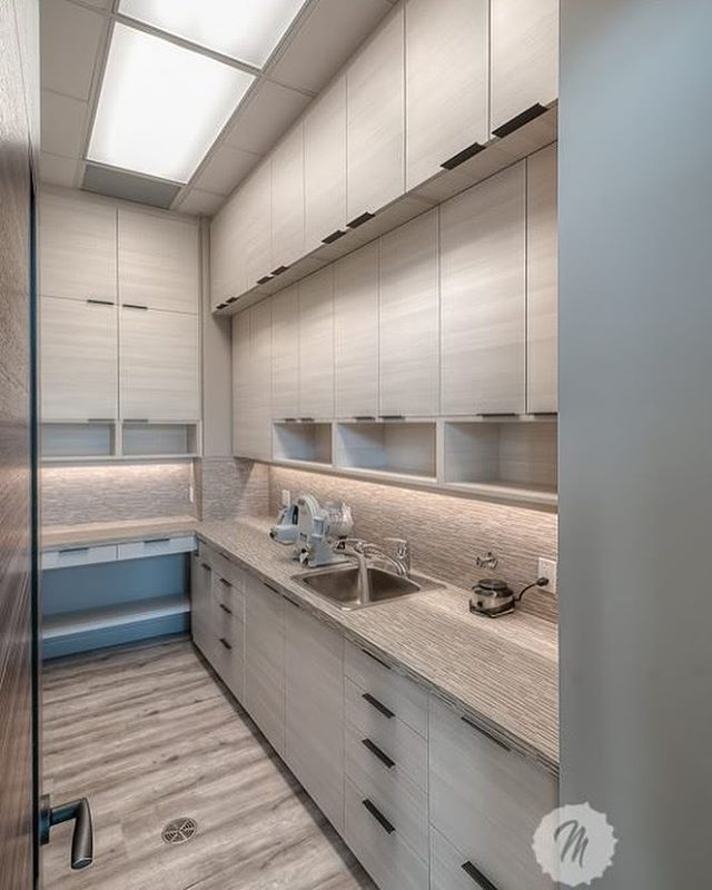 Dental lab- maximizing space for maximum storage. #dentaldesign #dental #design #interiordesigner #interiordesign #customdesign #dentallab #yyc #yycdesign #spaceplanning #spaceplanner