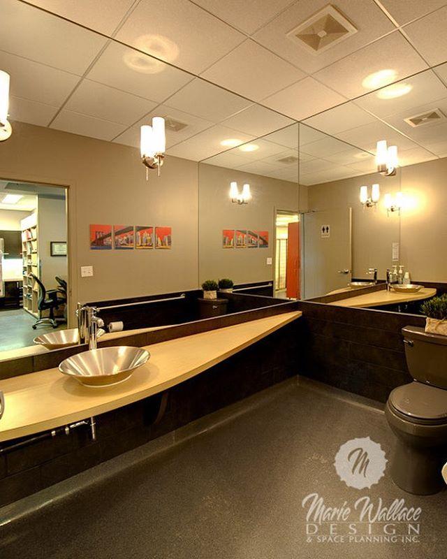 Mirrored barrier-free washroom. #interiordesigner #interiordesign #design #customdesign #yyc #yycdesign #dental #dentaldesign #designer #washroom #barrierfree