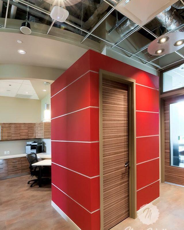 Dental office 'red box' washroom. #dentaldesign #dental #customdesign #washroom #watercloset #design #designer #interiordesigner #interiordesign #yyc #yycdesign #industrial #industrialdesign