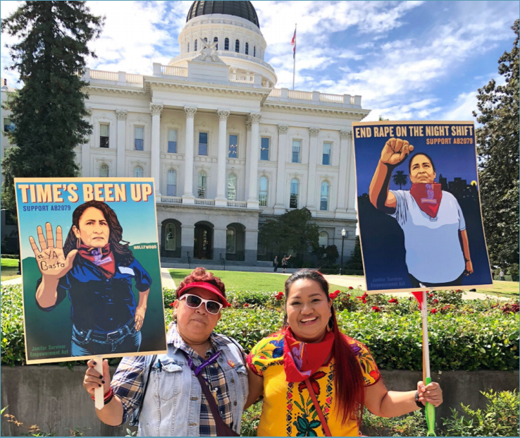 Alejandra and her mother at the State Capitol participating in a rally in support of AB 2079 (Janitor Empowerment Act) for mandatory sexual harassment prevention training. Photo provided by Alejandra Aguilar.