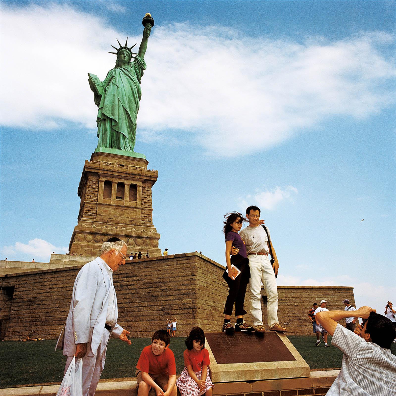 Visitors at Statue of Liberty Island, New York 2000