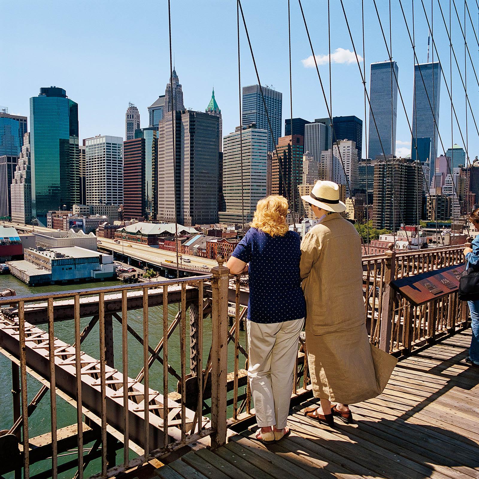 Two Women on Brooklyn Bridge, New York City 2000