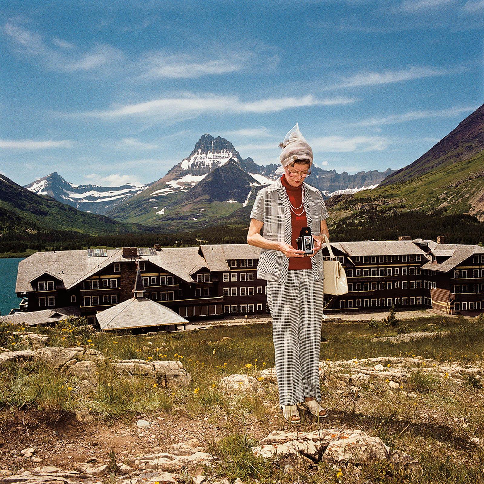 Woman at Many Glacier Hotel, Glacier National Park, Montana 1981