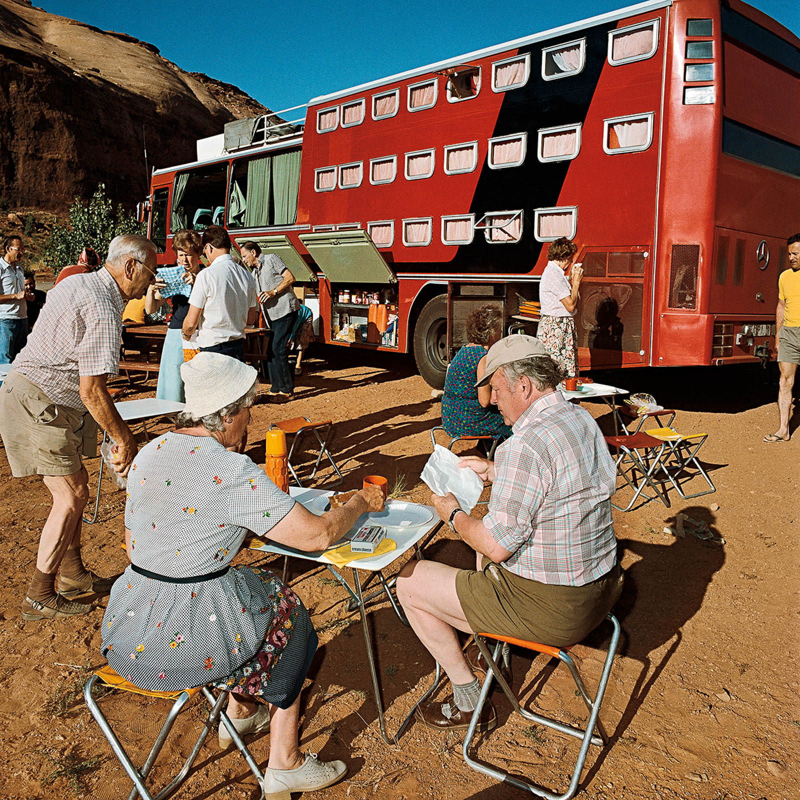 Sleeper Tour Bus at Goulding, Arizona 1980