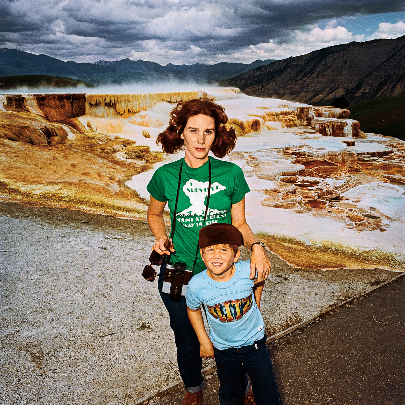 Mother & Son at Minerva's Terrace, Yellowstone National Park, Wyoming 1980