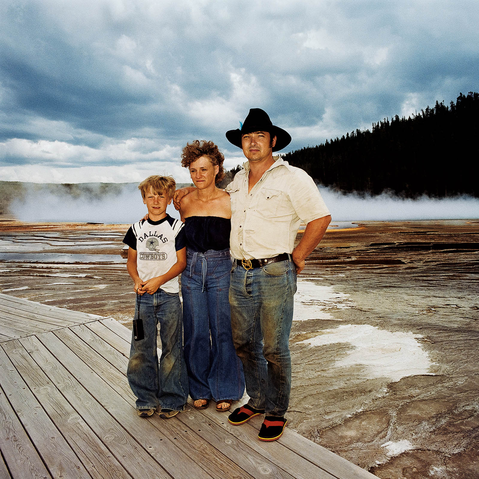 Family at Grand Prismatic Spring, Yellowstone National Park, Wyoming 1980