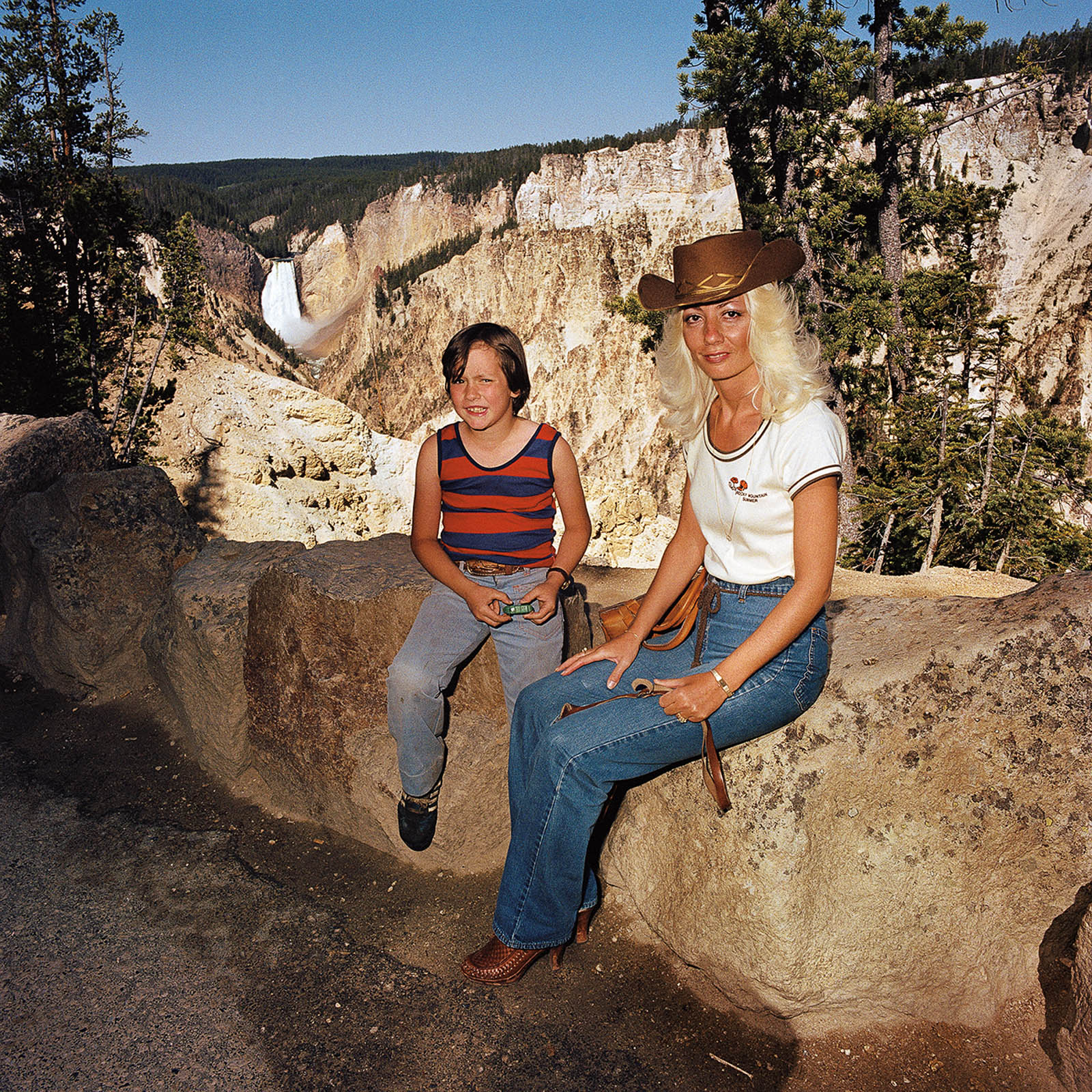 Mother & Son at Lower Falls, Grand Canyon National Park, Wyoming 1980