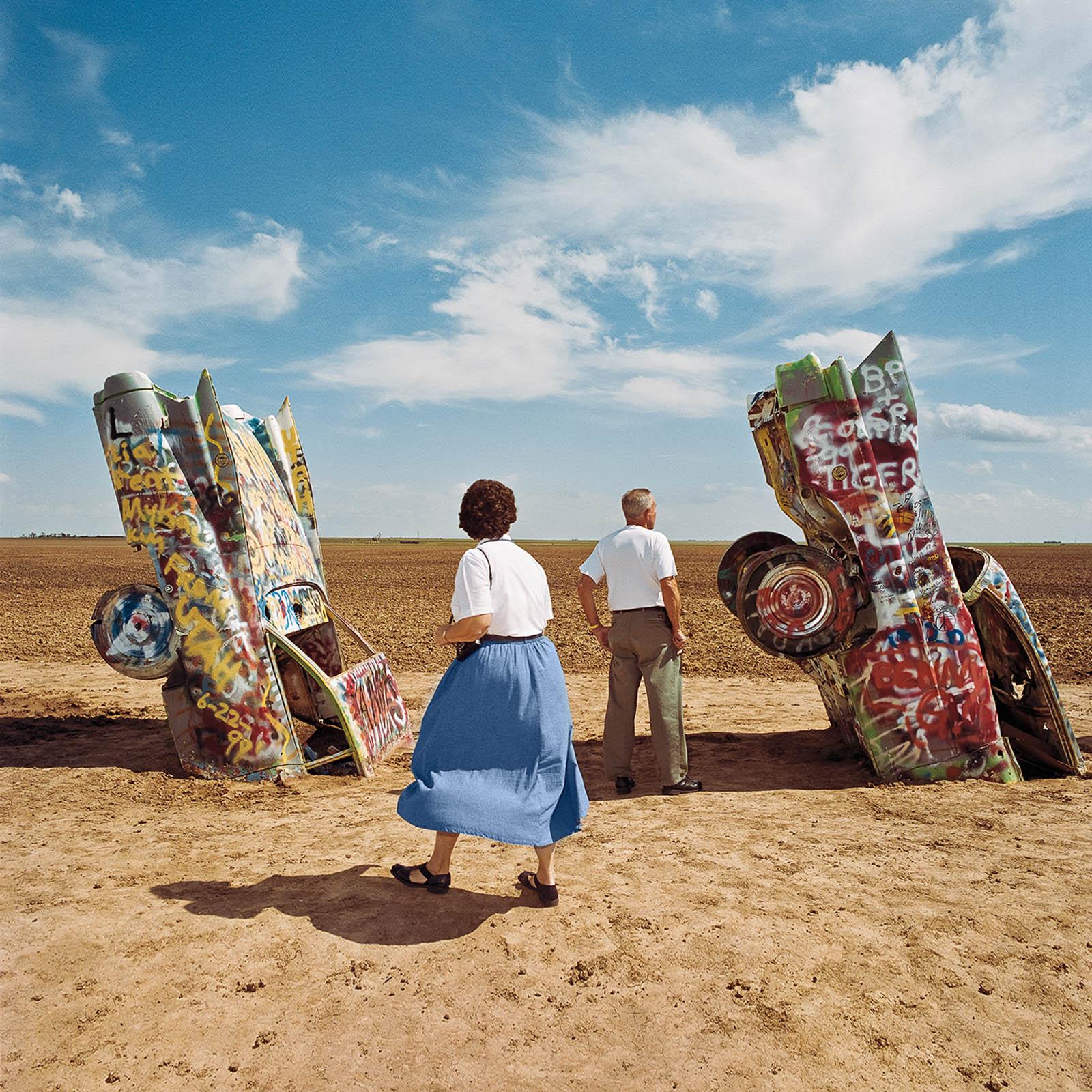 Couple Viewing Cadillac Ranch, Amarillo, Texas 1998