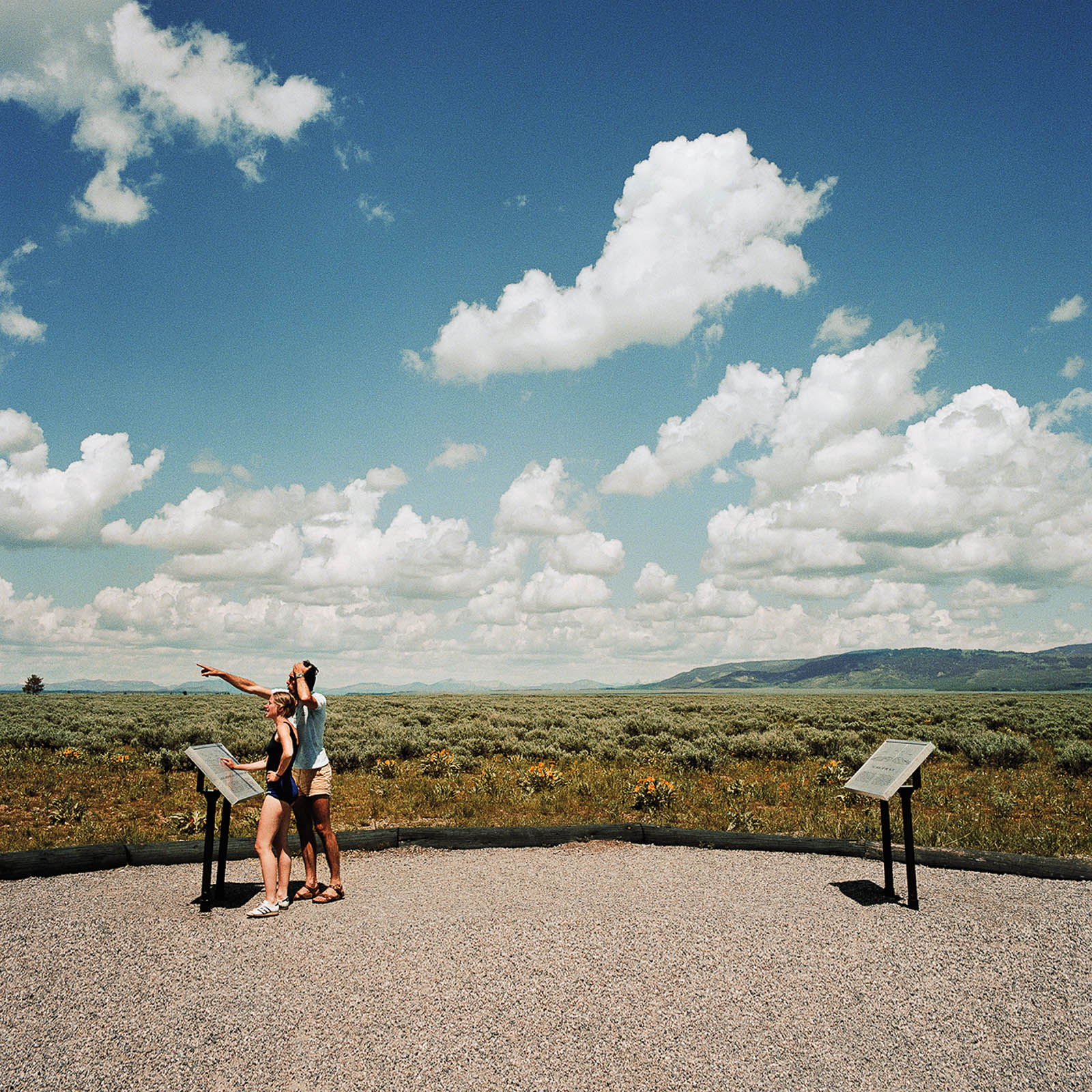 Couple Viewing Grand Tetons National Park, Wyoming 1980
