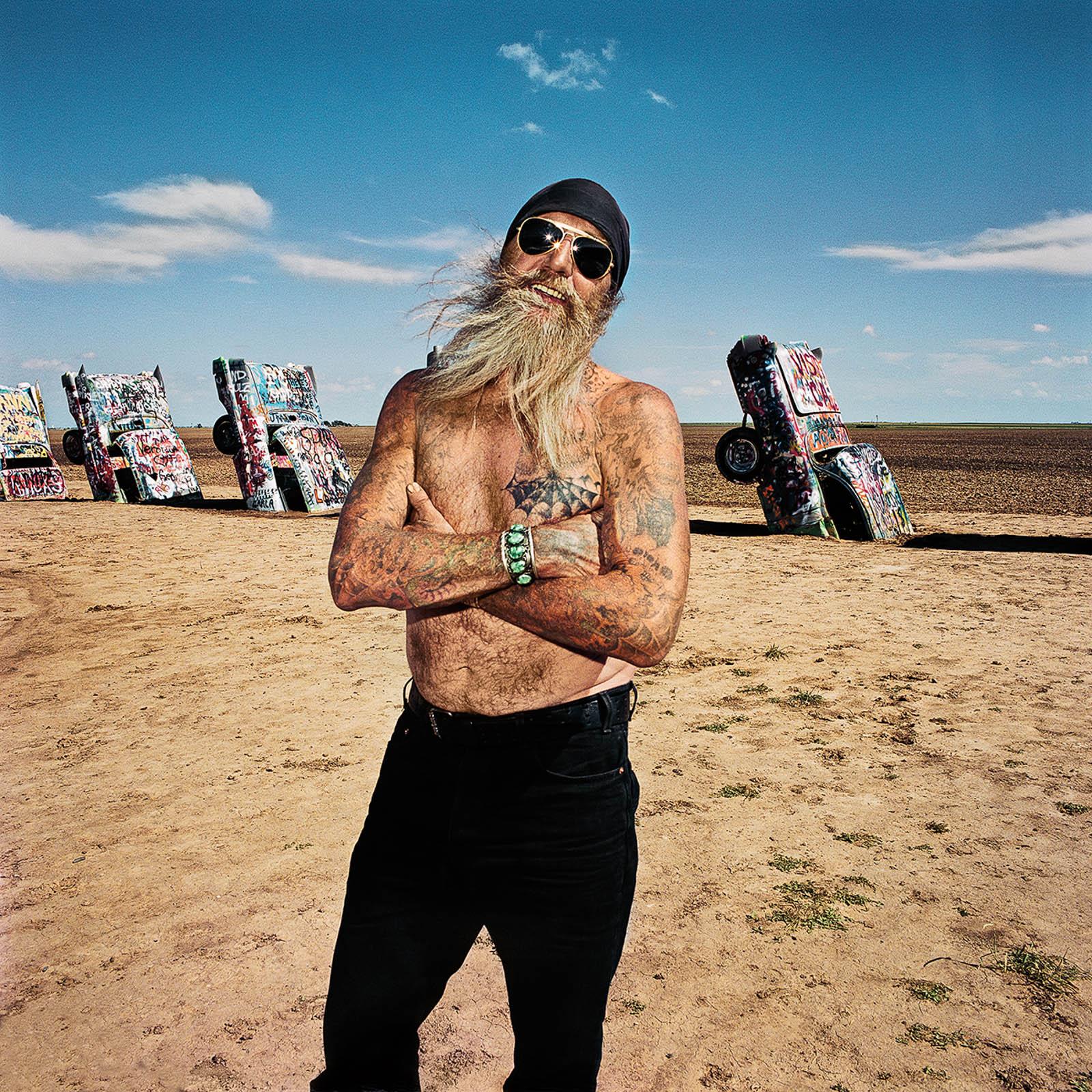 Tattoo Man at Cadillac Ranch, Amarillo, Texas 1998