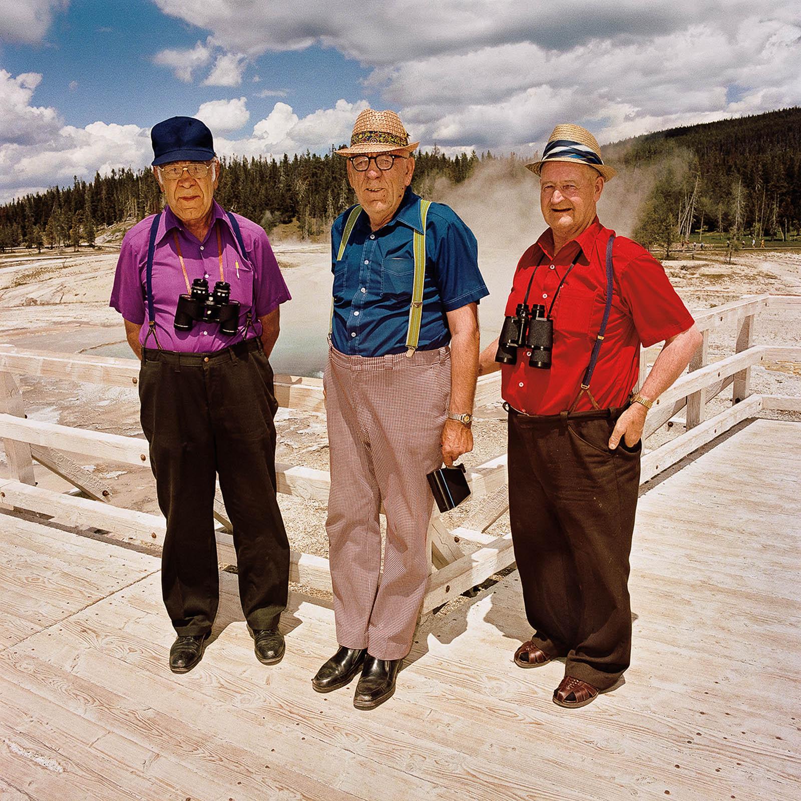 Three Men at Upper Geyser Basin, Yellowstone National Park, Wyoming 1980