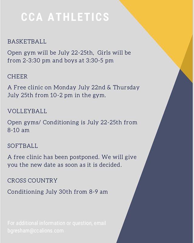 Summer open gym schedule!