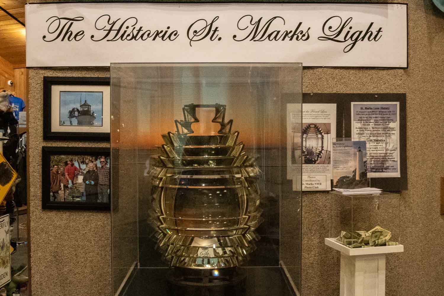 The original Fresnel Lens is in the Visitor Center