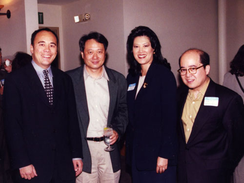 Founders Chris Lee, Wenda Fong, and Fritz Friedman with Director Ang Lee.