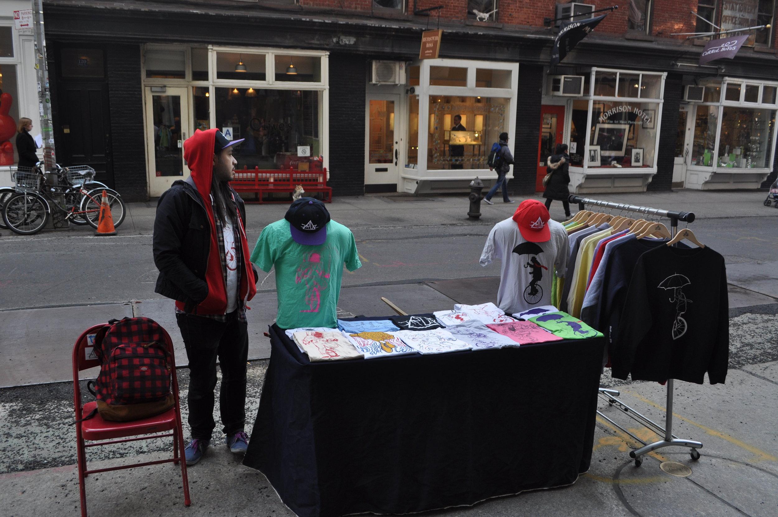 Prince St. Soho NY 2012 | Selling my t-shirts on the street.