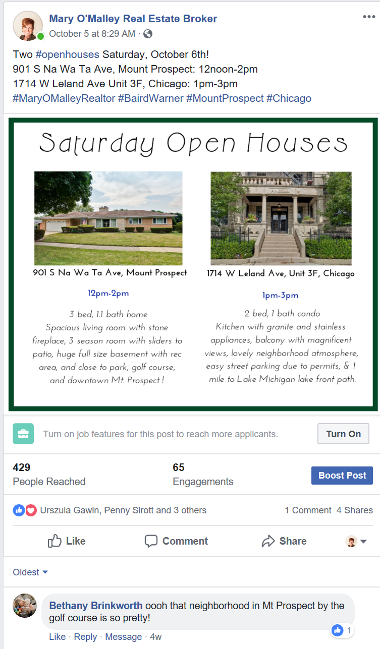 Facebook post for real estate open house