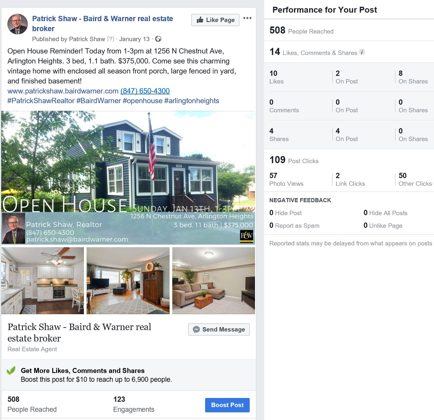 Facebook analytics for Patrick Shaw