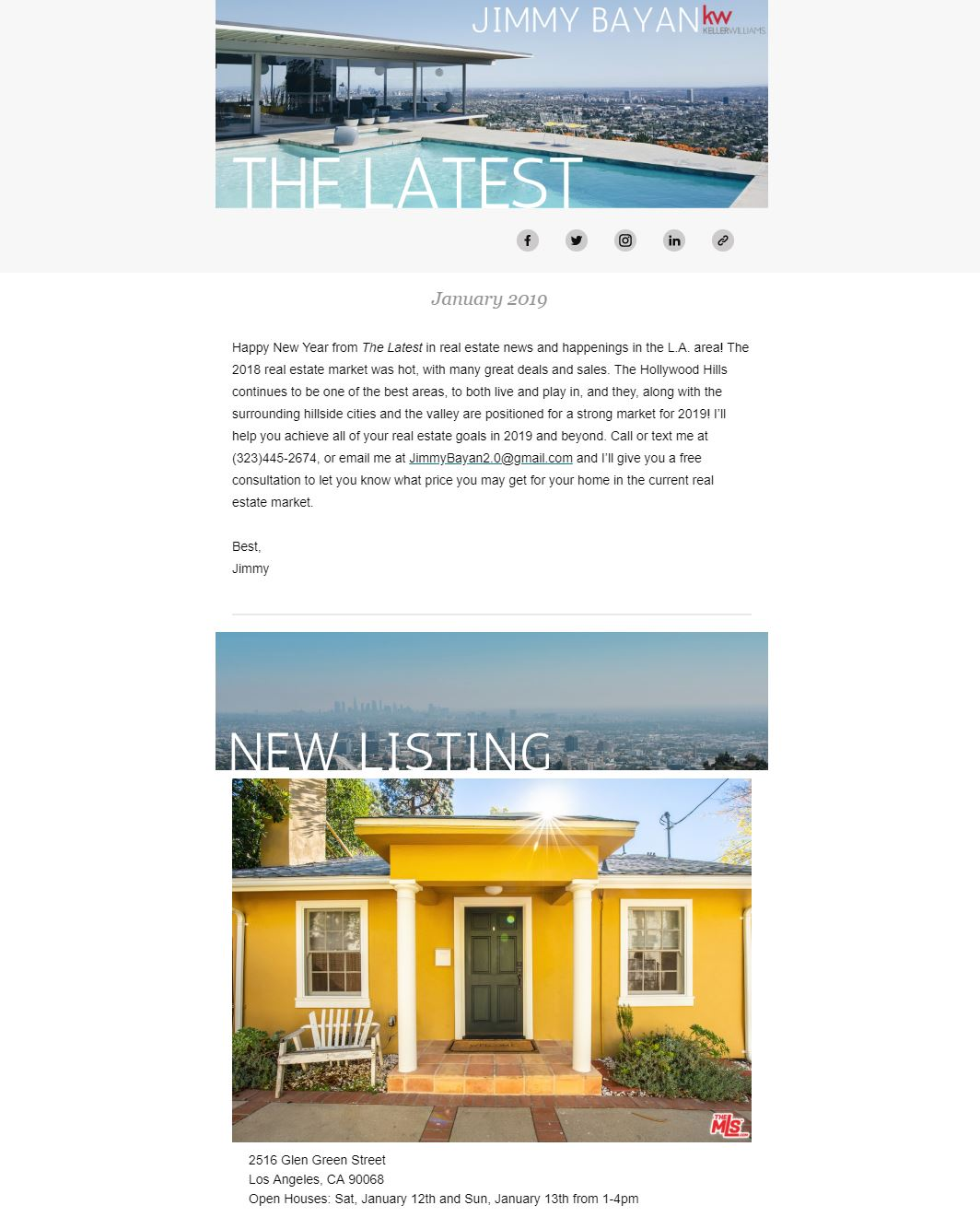 MailChimp newsletter for Los Angeles real estate agent