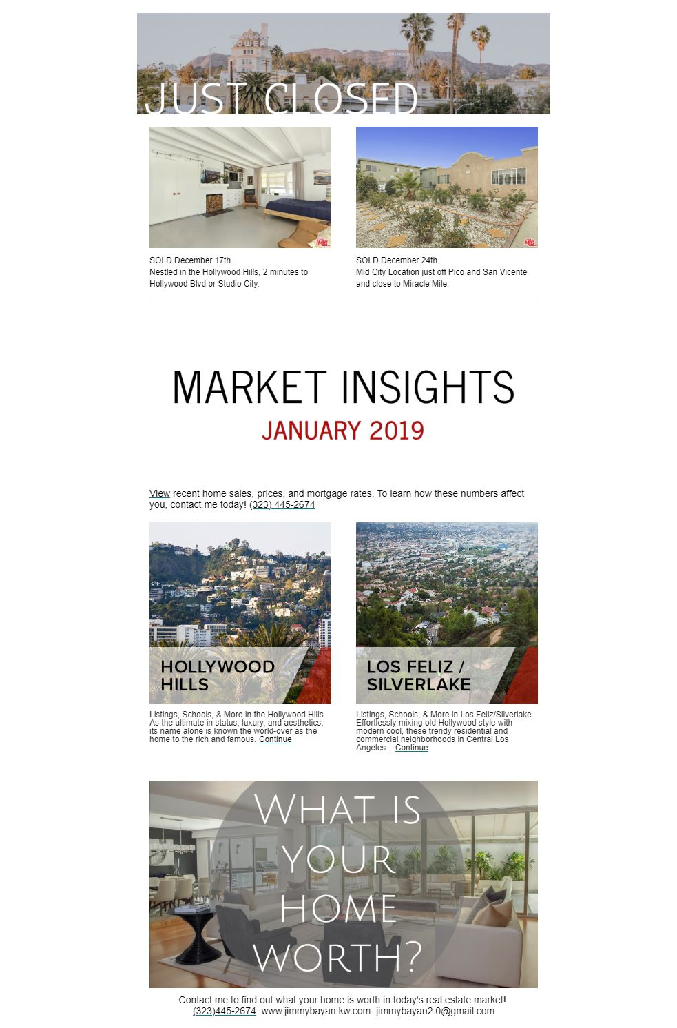 Mailchimp newsletter for Los Angeles real estate agent 2