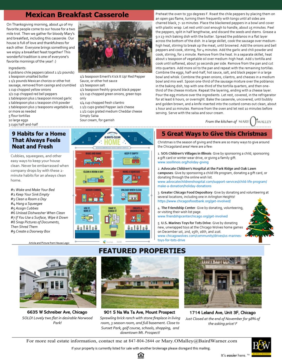 Newsletter for Chicago real estate agent