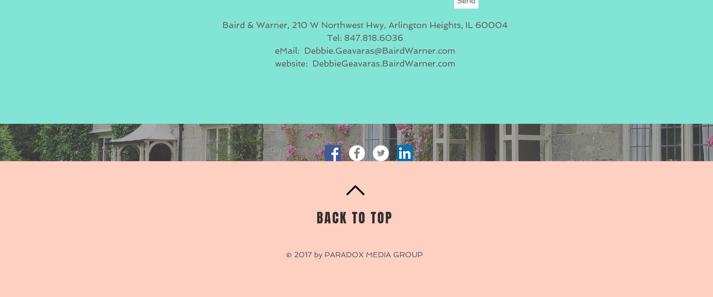 Website design bottom of page for real estate agent
