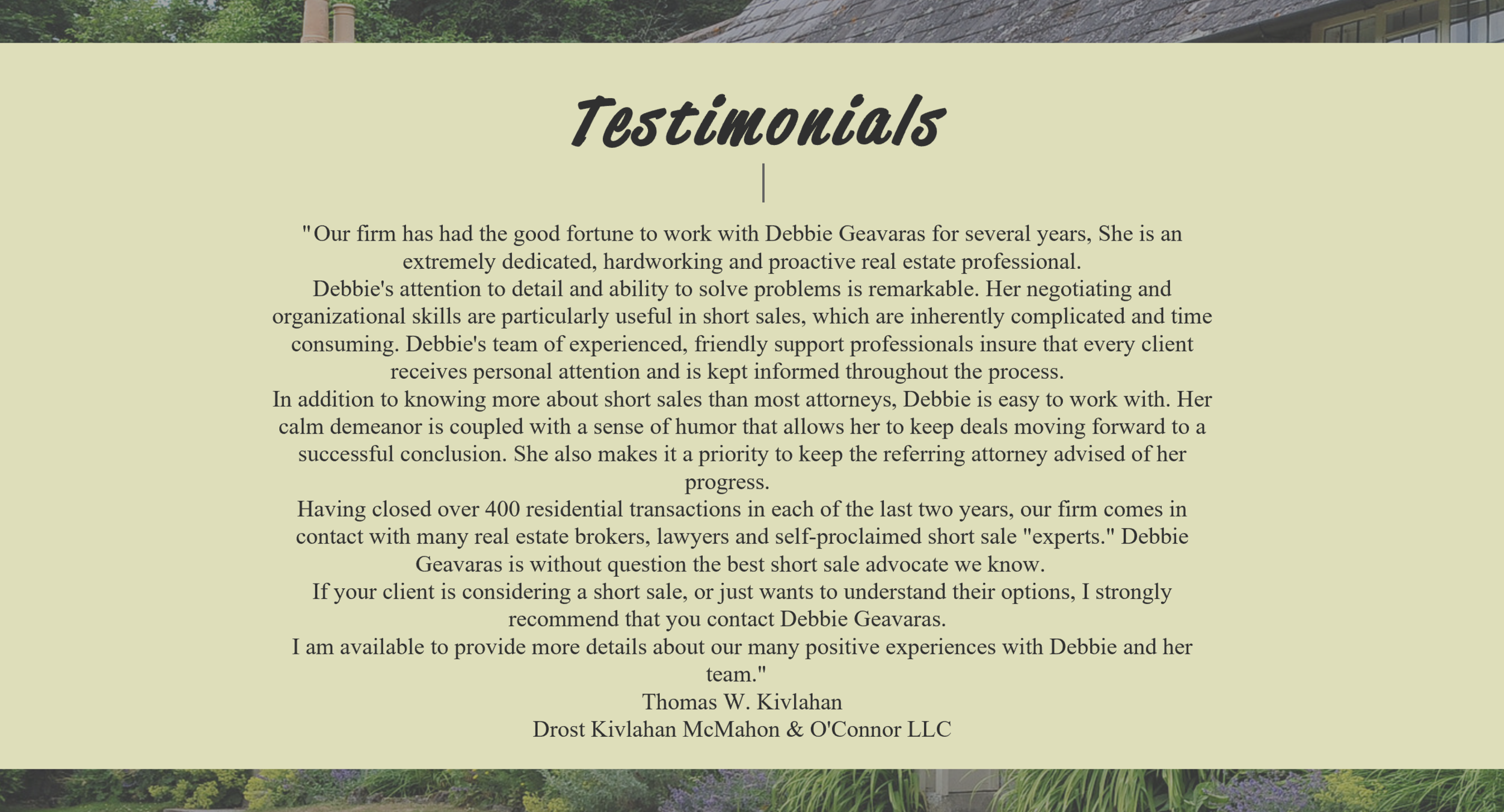 Website design testimonials for real estate agent