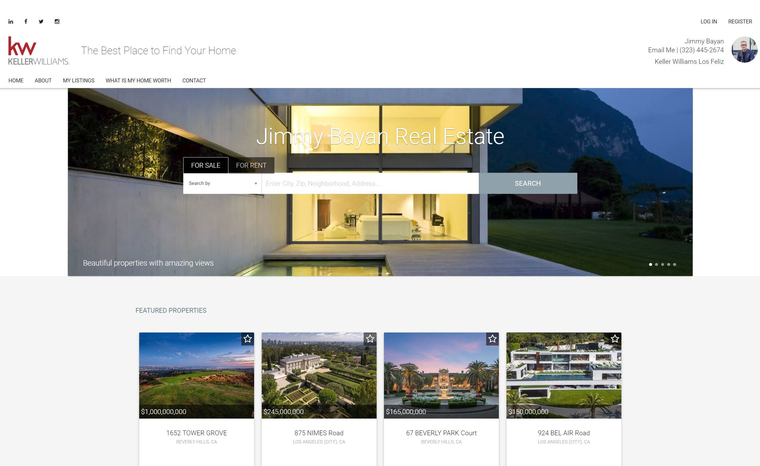 Website design page 2 for real estate agent