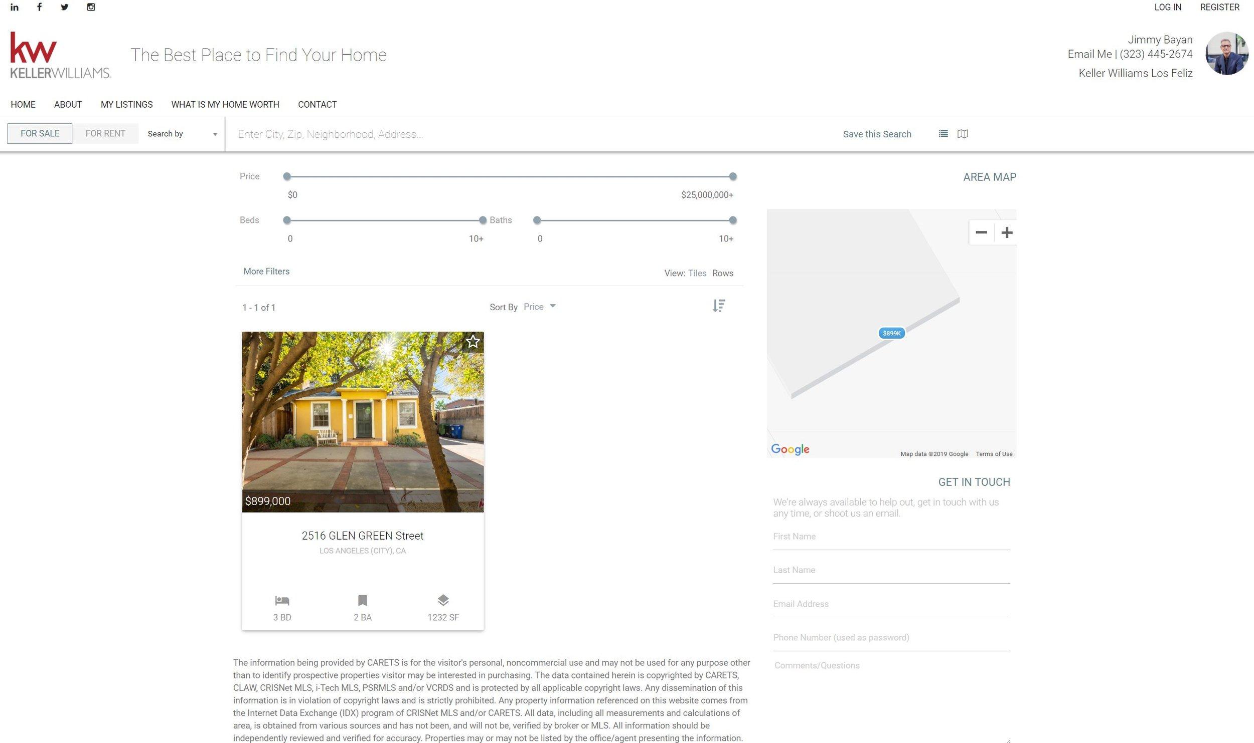 Website design listings page for real estate agent