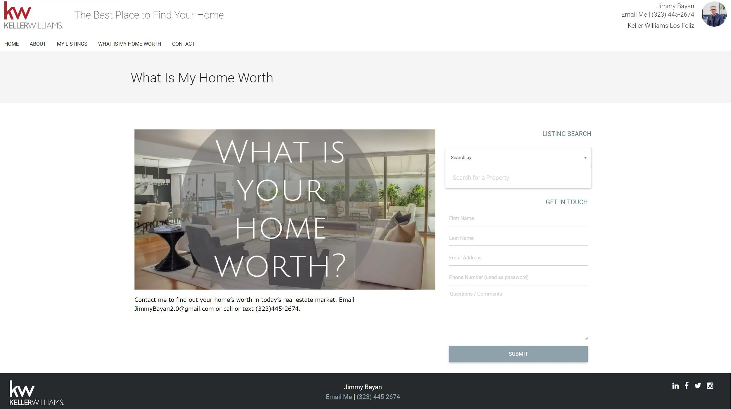 Website design How much is my home worth for real estate agent
