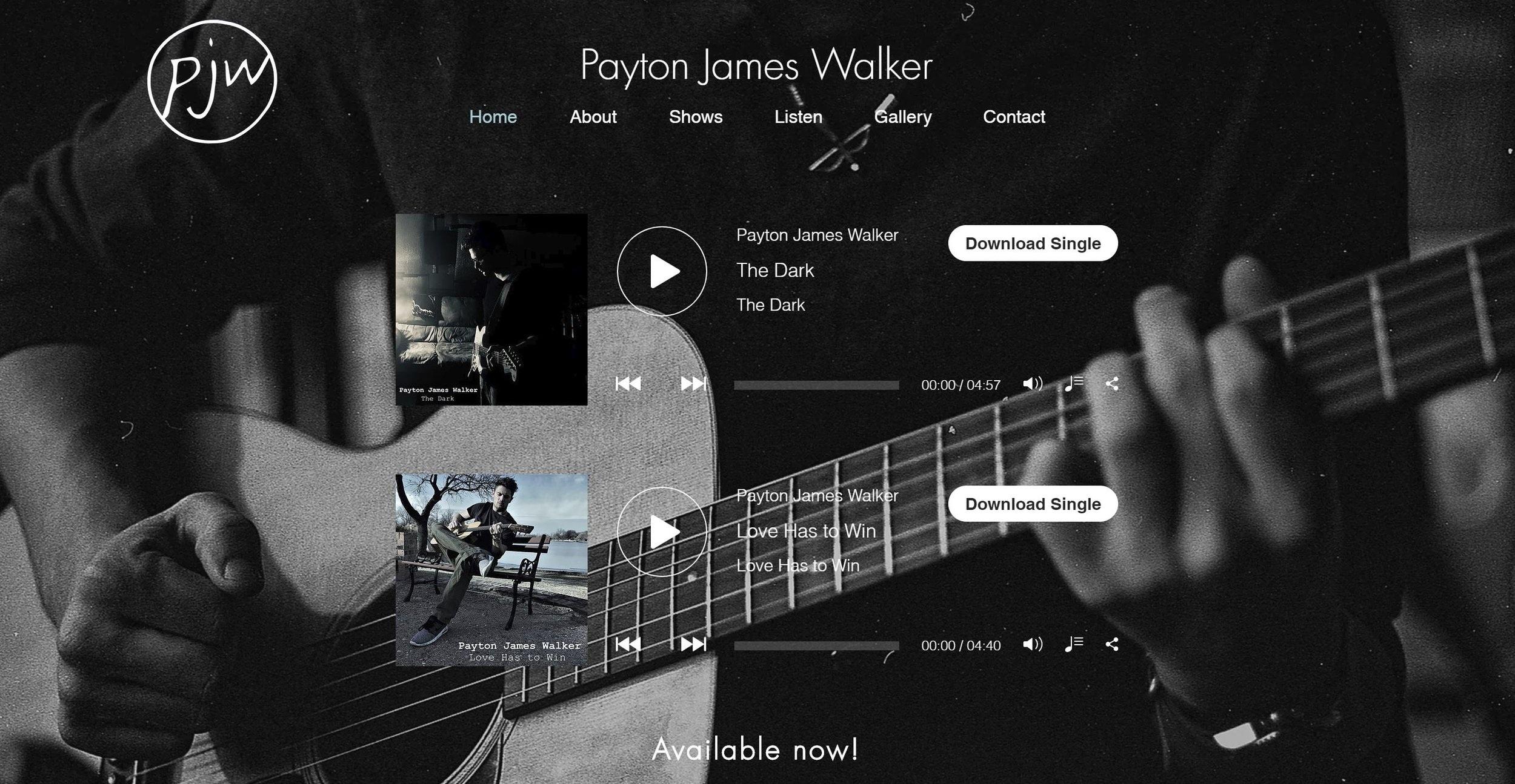 Website design for Payton James Walker