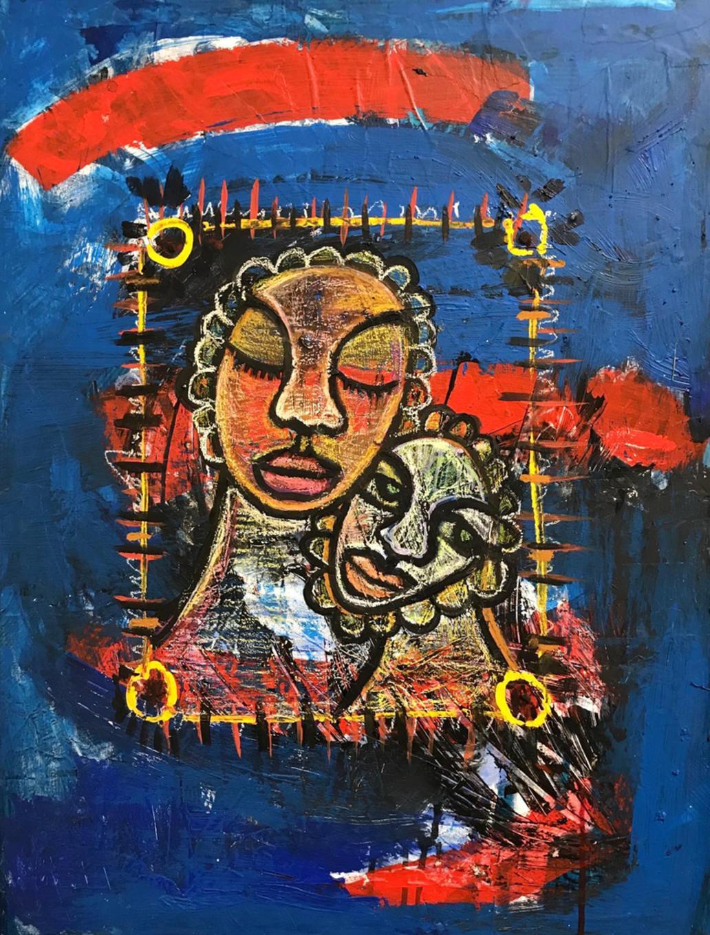 Nourishing Blue Memories (Triptych), 18x24 each, Acrylic, gouache on canvas 2017  - 2/3