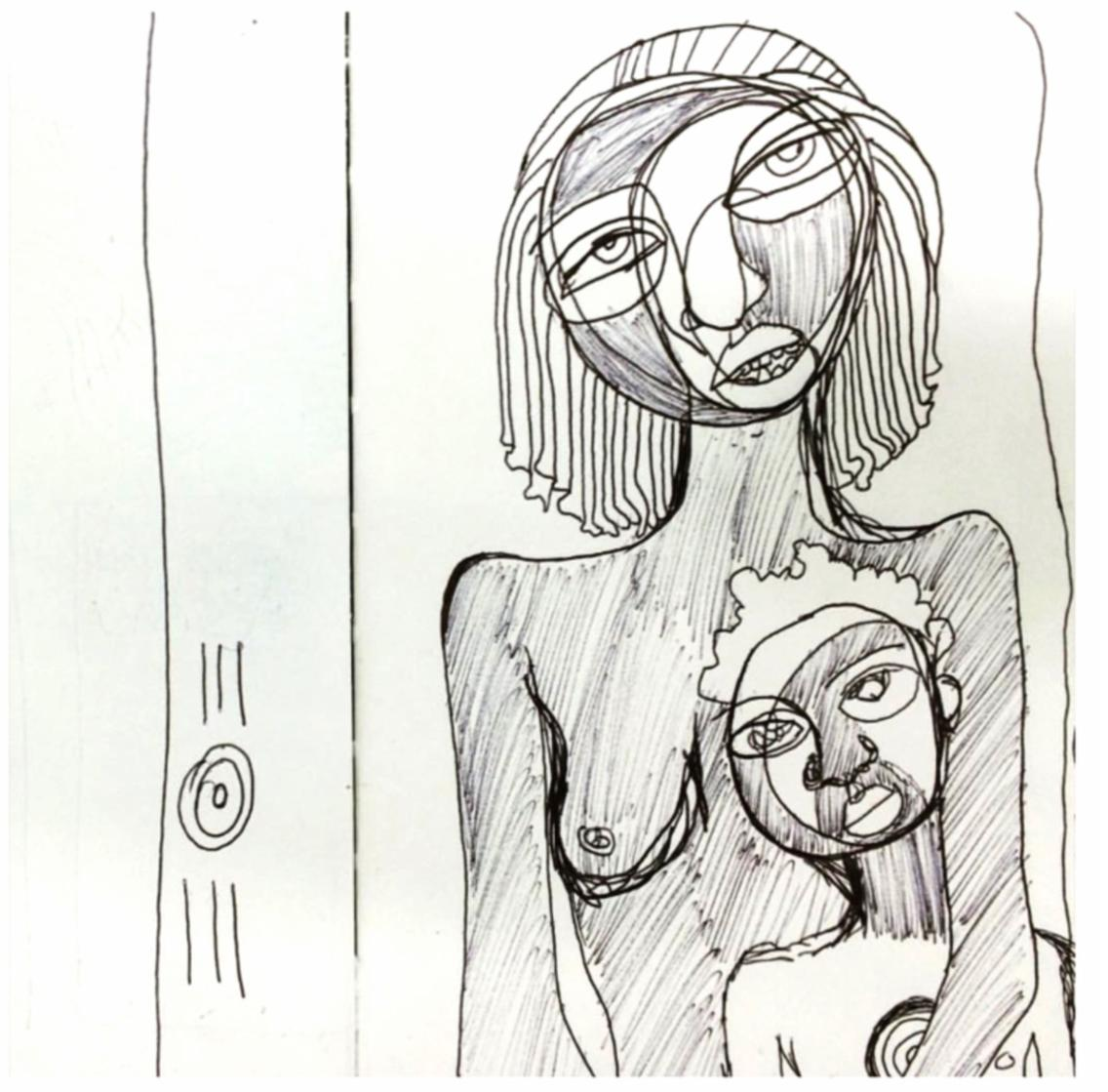 """Mama and Me on Porch, acrylic, gouache and ink on paper, 24"""" x 18"""" , 2015"""