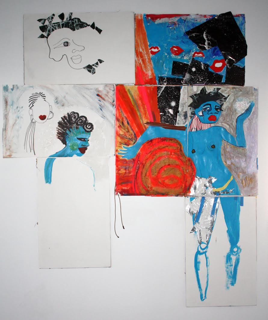 Blue Black Odyssey, acrylic, collage, wood strips, string on paper, 2012