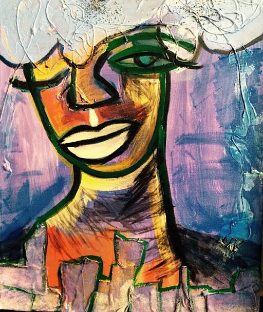Ms. Melody, acrylic and mixed media on canvas 2014