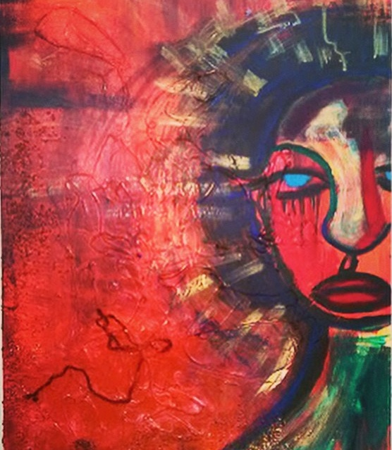 Red Hot Fury, acrylic and mixed media on canvas, 2014