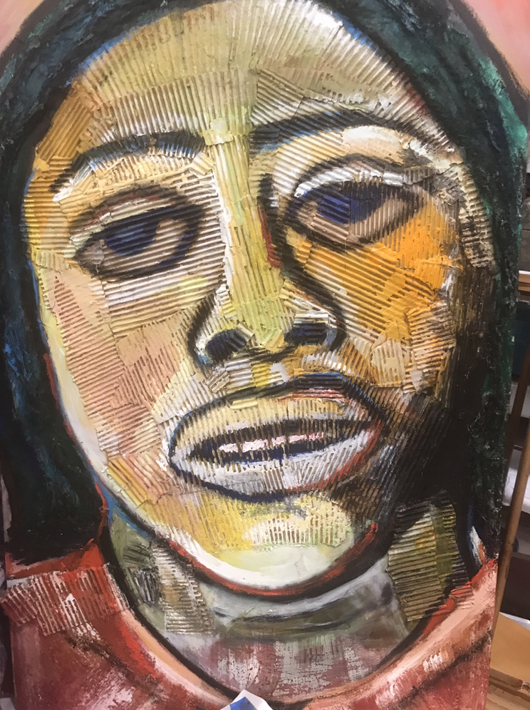 Portrait of Fannie Lou Hamer,  acrylic and cardboard on canvas 36x48 inches