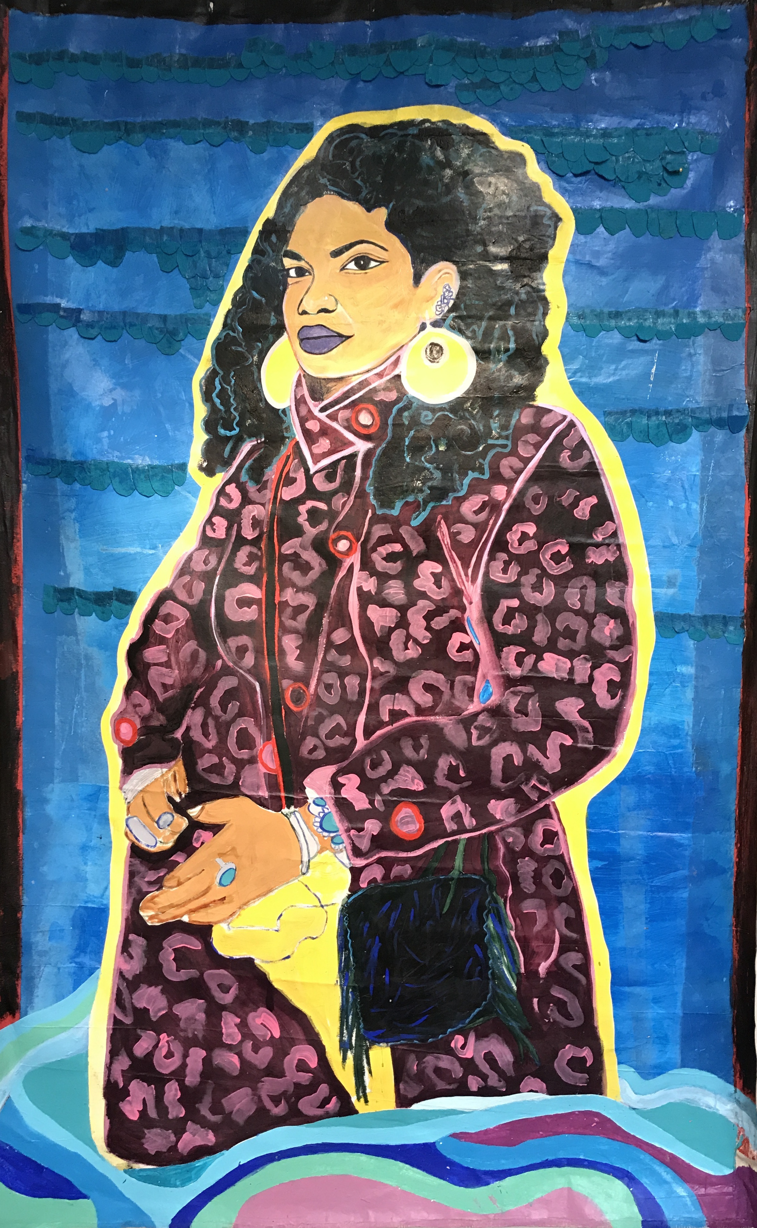 I Be Your Water 2/3- Portrait of Nina Angela Mercer,  acrylic and mixed media on canvas 8 x 5 feet