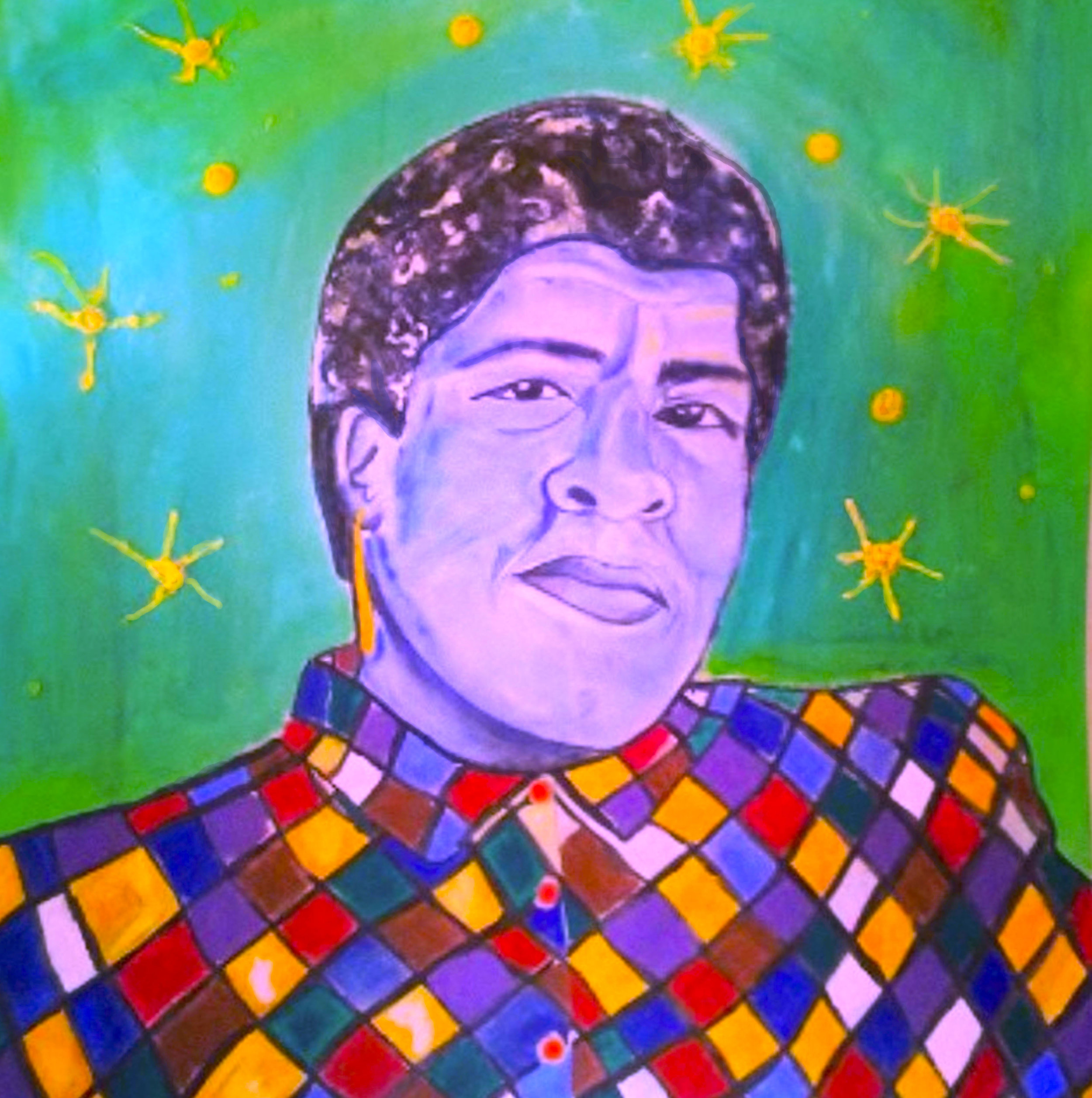 Portrait of Octavia Butler mixed media 4 ft x 4 ft