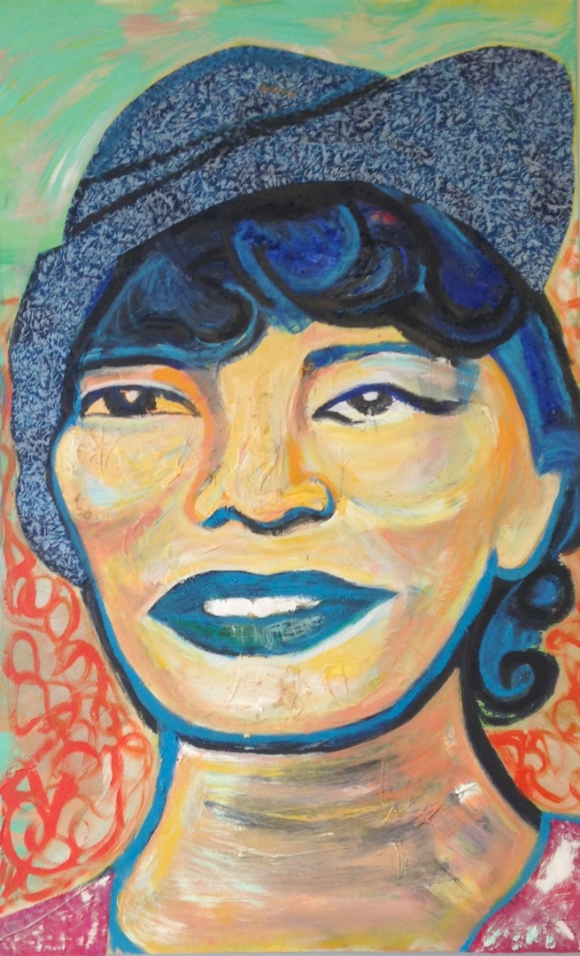 Portrait of Zora Neale Hurston acrylic and fabric on canvas, 36 x 48 inches