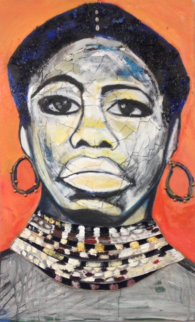 Blackbird- Portrait of Nina Simone -  acrylic, fabric, string, cowrie shells and board on canvas 36 x 48 inches