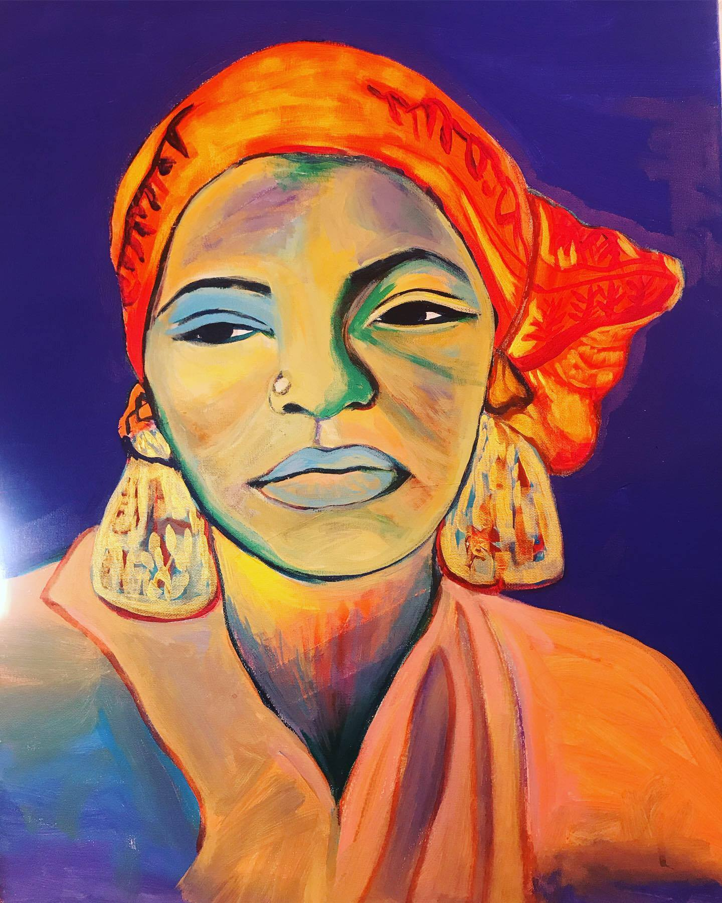 I Found God In Myself- Portrait of Ntozake Shange 18 x 24, acrylic on canvas