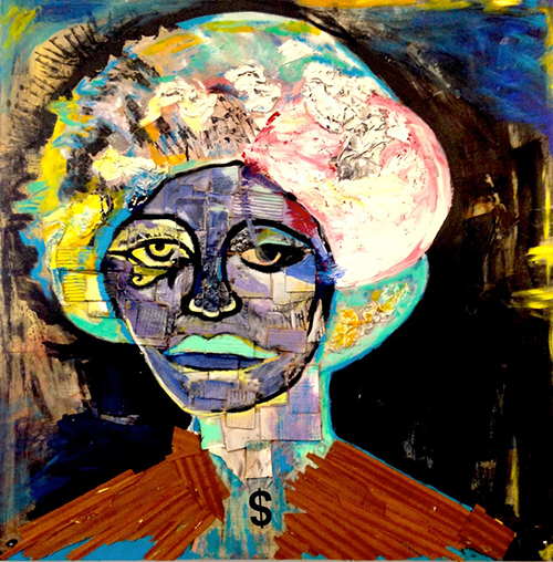 Mothership - Portrait of Angela Davis - 5x5 ft. acrylic, cardboard plaster, wood strips on wood